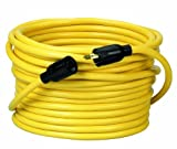 Coleman Cable 09208  12/3 SJTW 50' 300-Volt Yellow Extension Cord