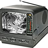 """Action ACN-3518 5"""" Portable Black & White TV with AM/FM Radio"""