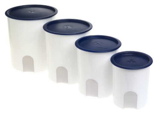 Tupperware One Touch Reminder Canisters, Set of 4, Bold 'N Blue