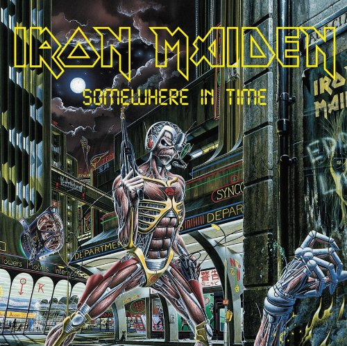 Original album cover of Somewhere in Time by Iron Maiden