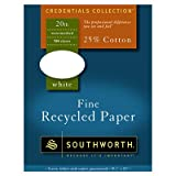 Southworth Credentials Collection™ 25% Cotton Fine Recycled Paper, 8 1/2in. x 11in., 20 Lb., White, Box Of 500