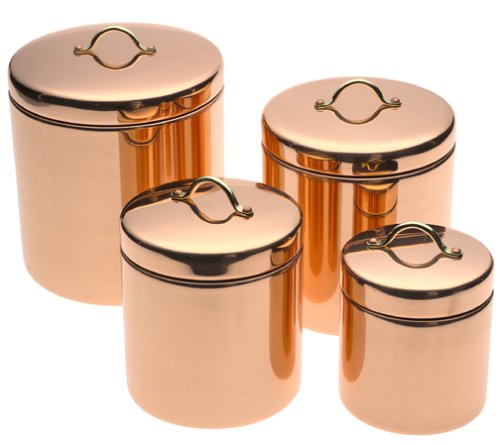 Old Dutch Décor Copper Canisters, Set of 4