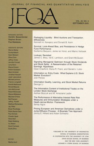 Journal Of Financial & Quantitative Analysis [MAGAZINE SUBSCRIPTION]