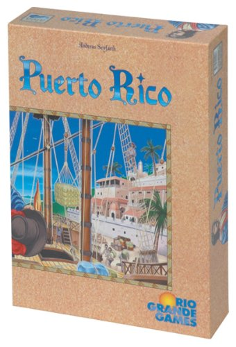 Cover Art shows a town from the viewpoint of someone on a boat. The deck and rigging are visible. Text says: Andreas Seyfarth. Puerto Rico. Rico Grande Games