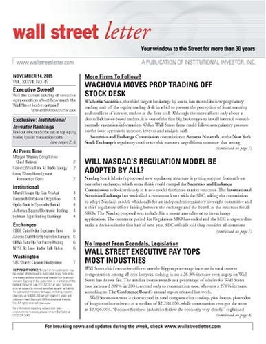 Wall Street Letter [NEWSLETTER]