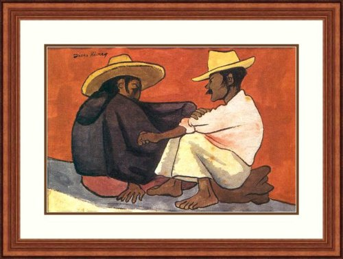 Pareja Indigena by Diego Rivera - Framed Artwork