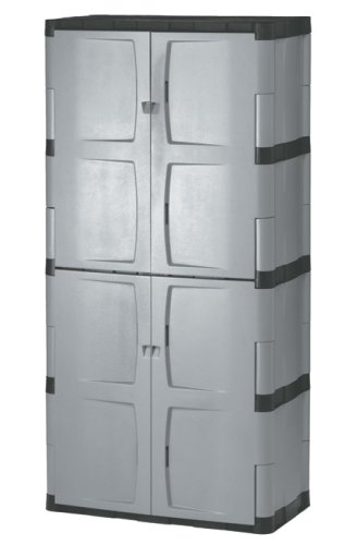 Rubbermaid 708300MICHR Heavy-Duty Full Double Door Resin Cabinet.
