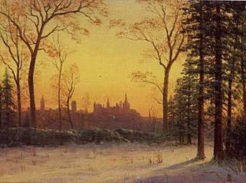 View of the Parliament Buildings from the Grounds of Rideau Hall, Art Poster by Albert Bierstadt