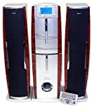HH Scott SJ510 Dual CD and Cassette Free-Standing Tower Music Center (Silver/Burlwood)