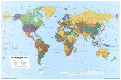 World Map, Wall Poster, 36x24
