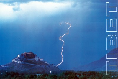 Lightning over Potola, Lhasa, Tibet, Wall Poster by Thomas Laird, 36x24