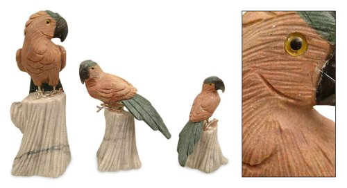 Gemstone Statuettes Lovebirds set of 3