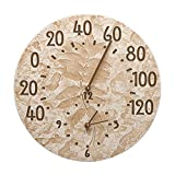 Fossil Sumac Indoor/Outdoor Thermometer and Wall Clock Combo - 14-1/2