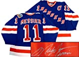 Mark Messier New York Rangers 94 SC Autographed Hattain Away Blue Jersey by Steiner