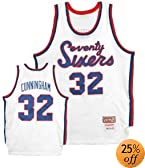 1971 Philadelphia 76ers Home White #32 Billy Cunningham Throwback Jersey... by Mitchell & Ness