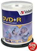 100-Disc Verbatim 8x 4.7 GB DVD+R Spindle