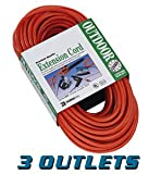 Coleman Cable Systems 04217 Extension Cord - 25ft. 120VAC - Heavy Duty with 3 Outlets