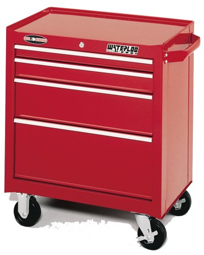 "Waterloo PMX2704 Red 26"" 4-Drawer Ball-Bearing Tool Cabinet with Tri-channel Construction that Provides Extra Strength and Durability."