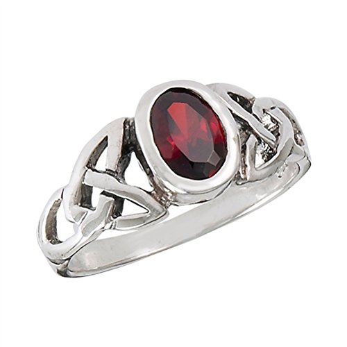 Sterling Silver Celtic Knot Red Garnet Ring (Size 4,5,6,7,8,9)