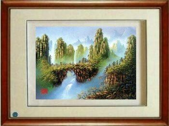 Wall Art Framed Silk Embroidered Picture: Chinese Painting Landscape 6