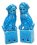 Chinese Fu Dogs   - cobalt blue porcelain $15.00