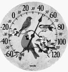 Poly Resin Thermometer, Song Birds Design...