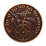 Whitehall Products 01789 Pinecone Thermometer Clock Combo - antique copper
