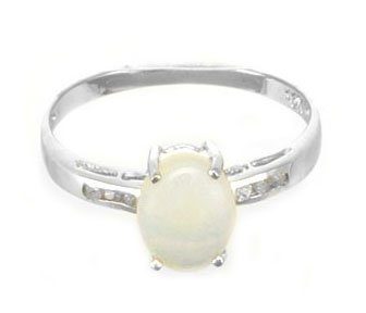 Genuine White Opal and Diamond Accents Solid 10k White Gold Ring Size 7