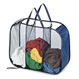 Pop N' Fold 3 Section Laundry Hamper - Blue