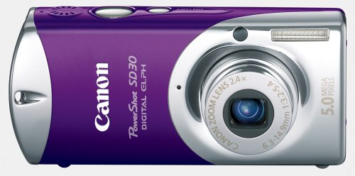 Canon Powershot SD30 5MP Digital Elph Camera with 2.4x Optical Zoom (Vivacious Violet)