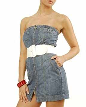 bebe : Denim Strapless Dress :  jeans designer hot dress