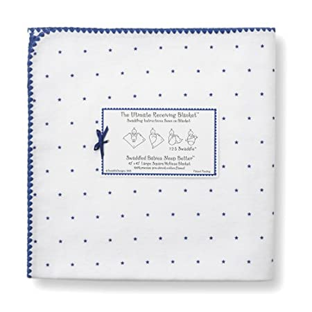 Baby Swaddledesigns Ultimate Receiving Baby Blanket Navy Little Stars