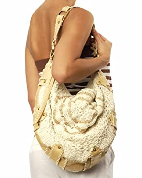 bebe : Leather Trim Crochet Hobo from bebe.com