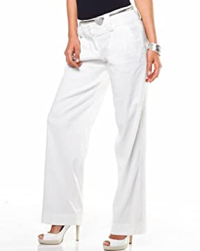 bebe : Linen Cuffed Pant :  fashion pant white sailor pant