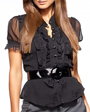 bebe.com : Silk Chiffon Blouse :  blouse waist belt silk chiffon bebe