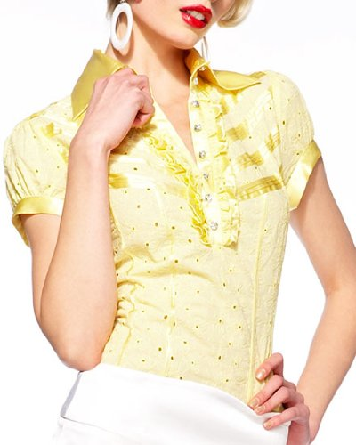 bebe.com : Embroidered Silk Trim Eyelet Blouse :  womens designer blouse fashion