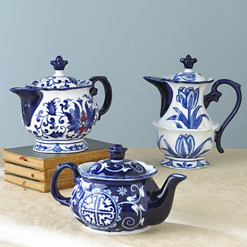 Bombay Blue and White Porcelain Teapots - Assorted