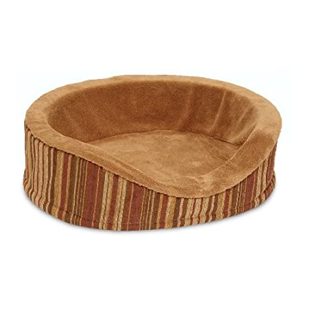 Deluxe Mini Oval Bed W/microban Mini- Caramel Stripe Chenille