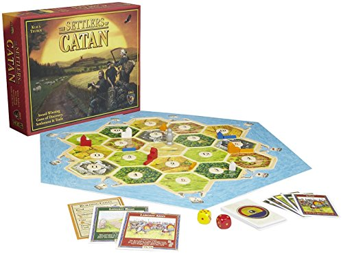 Cover Art shows three farm workers traveling down a path in the country. Cover text says: The Settlers of Catan. Klaus Teuber. Awarding-winning game of discovery, settlement, and trade