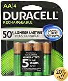 Duracell Pre Charged Rechargeable NiMH AA Batteries, 4-Pack