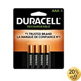 Duracell Pre Charged Rechargeable Nimh AAA Batteries, 4-Pack