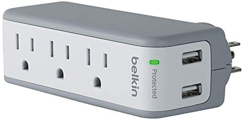 Book Rotating Power Strip of three plubs and two USB ports