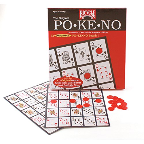 Cover Art shows various playing cards. Cover text says: Bicycle. Ages 7 and up. The original po ke no. The thrill of poker and the suspense of Keno. 12 original pokeno boards!.