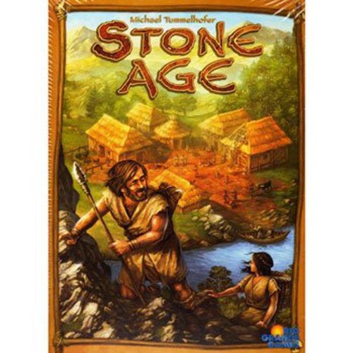 Cover Art shows a stone age man and woman climbing a mountain. A thatch village sits in the background.