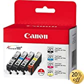 Canon 2946B004 CLI-221 4 Color Value Pack (Black/Cyan/Magenta/Yellow)