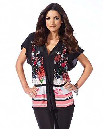 bebe.com Floral Striped Silk Drawstring Top :  floral flower black silk