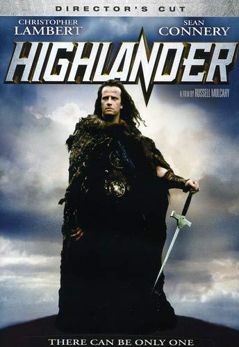 Highlander starring Christopher Lambert. He's standing on a hill with kilt and fur and a sword, hair blowing a bit. Kind of like a romance novel cover, only without O-face.