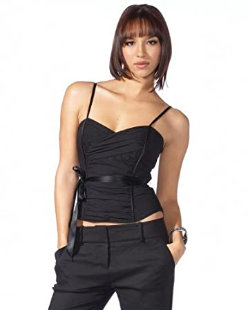 bebe.com Cross Pleated Bustier Cami :  satin trimmed camisole black top