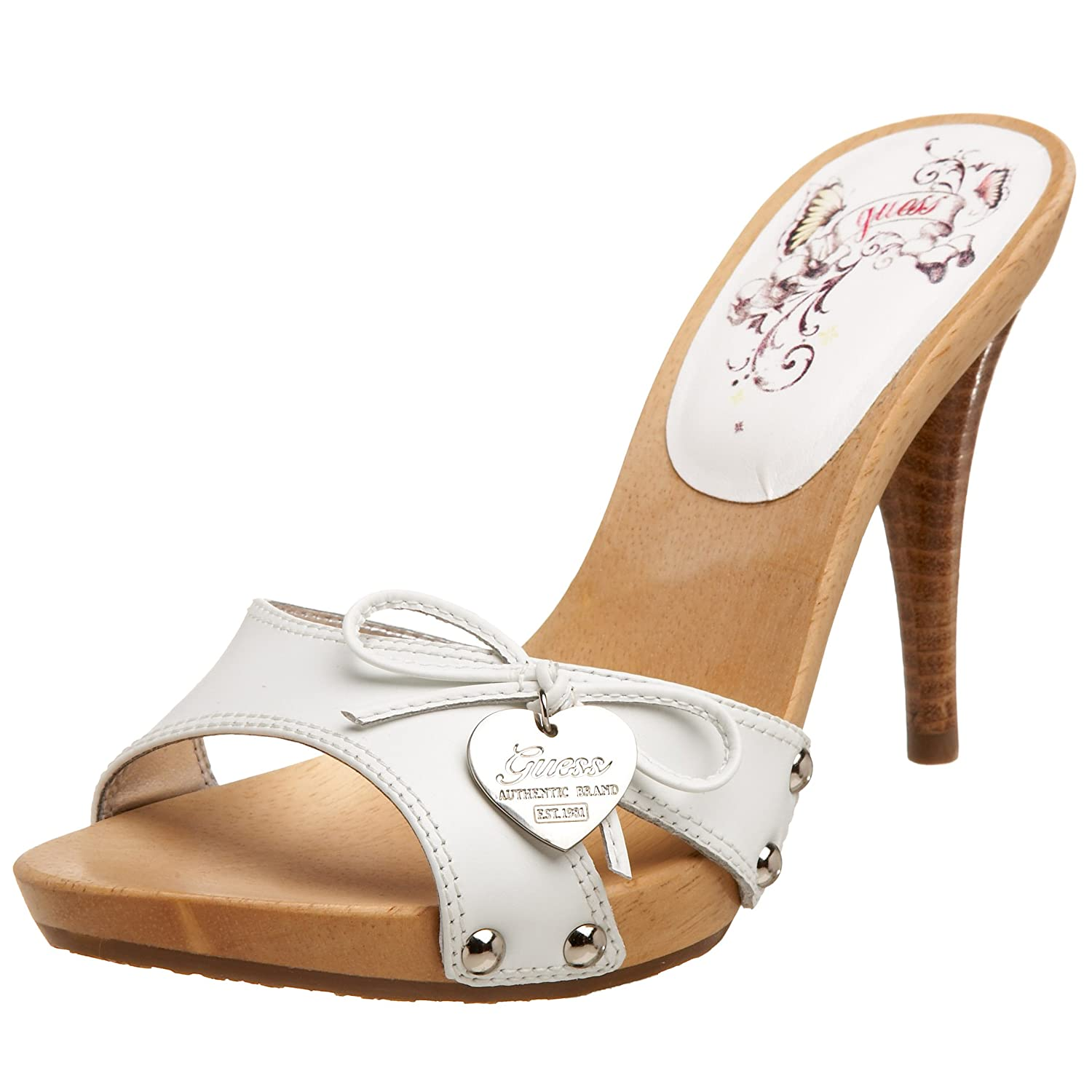 GUESS Women's Shower3 Once Band Wooden Sandal :  designer shoes guess heels sandals