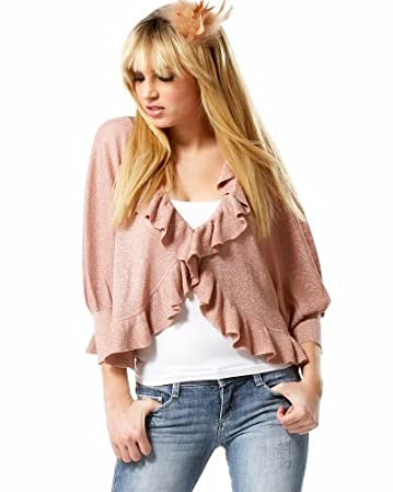 bebe.com Balloon Sleeve Ruffle Front Metallic Cardigan Shrug
